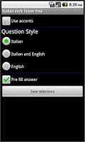 Screenshot of Italian Verb Tester FREE