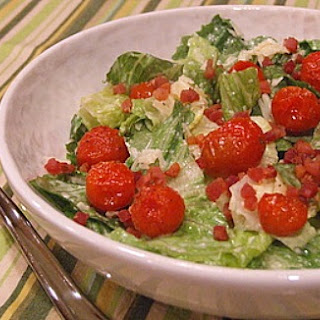 Caesar Salad with Pancetta & Roasted Tomatoes.