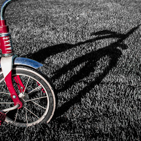 little trike with a dream by Denise Johnson - Artistic Objects Toys ( red, tricycle, selective color, trike, dream, shadow, toys,  )