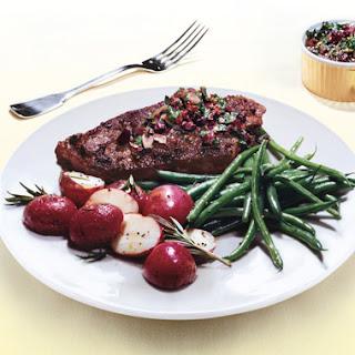 Grass-Fed Steaks with Kalamata-Olive Chimichurri.