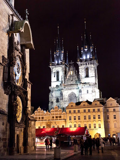 Czech-Prague-Town-Square-astronomical-clock - The 600-year-old astronomical clock (left) in Prague's Old Town Square is a medieval world wonder.