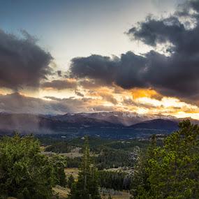 Stormy sunset by Veronika Kovacova - Landscapes Mountains & Hills ( clouds, yellowstone, sunset, montana, wyoming, landscape, storm, golden hour, , #GARYFONGDRAMATICLIGHT, #WTFBOBDAVIS )