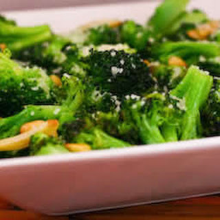 Sauteed Broccoli with Garlic, Pine Nuts, and Parmesan.