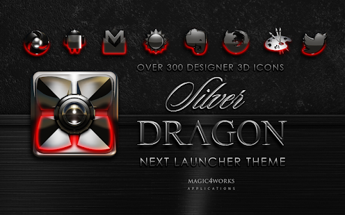 Next Launcher Theme Silver Dra