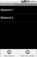 Screenshot of Project Schedule - Contacts