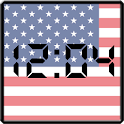 Flag LCD Clock Widget USA icon