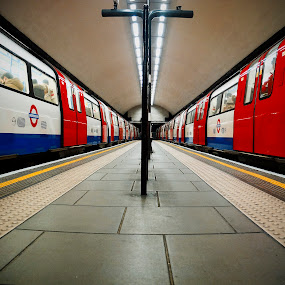 twin trains revisited by Kevin Towler - Transportation Trains ( platform, london, station, tube, train, transportation, underground,  )