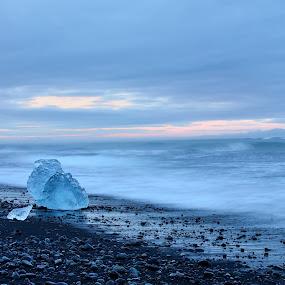Blue beauty by Silva Predalič - Landscapes Waterscapes ( iceberg, iceland, blue sky, seashore, cube, sunrise, beach, seascape, black sand,  )