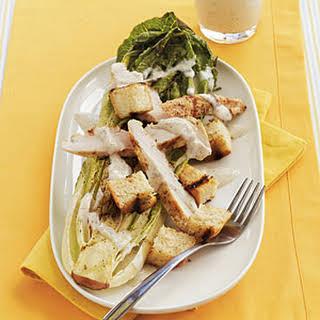 Grilled Romaine Chicken Caesar Salad.