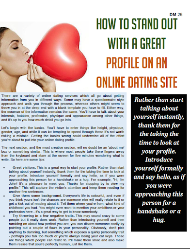 How to stand out on an online dating site