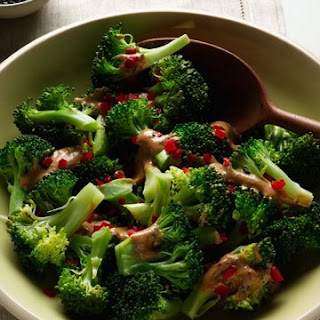 Steamed Broccoli with Miso-Sesame Sauce.