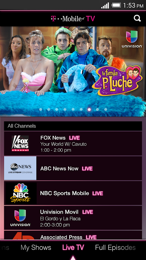 T-Mobile TV with Mobile HD - screenshot