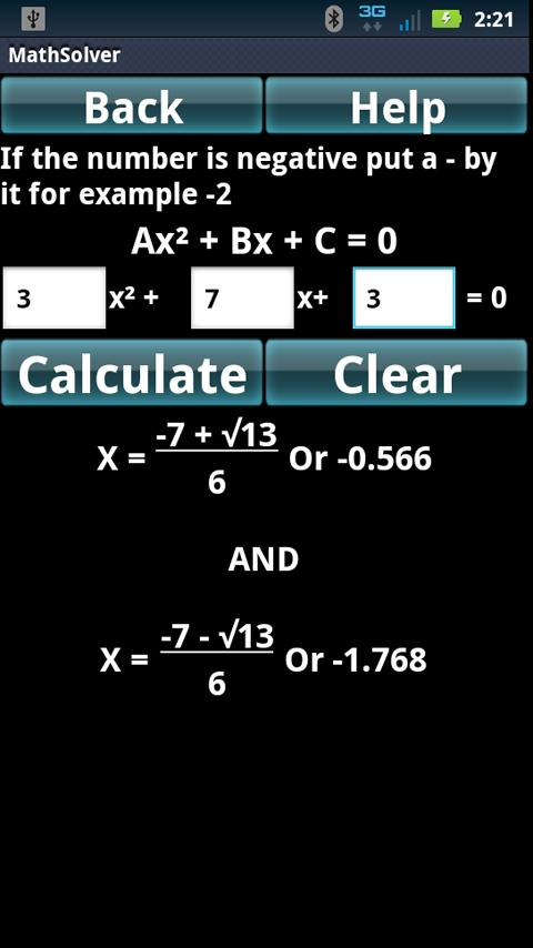 Math Algebra Solver Calculator - screenshot