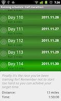 Screenshot of Running Schedule