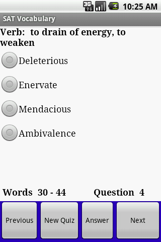 SAT GRE Vocabulary for Android - screenshot