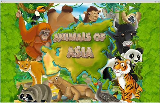 Puzzle coloring Asia Animals