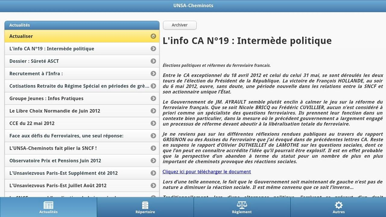 UNSA-Cheminots - screenshot