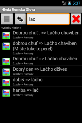 Dictionary Gibsy Roma EN CZ RU - screenshot
