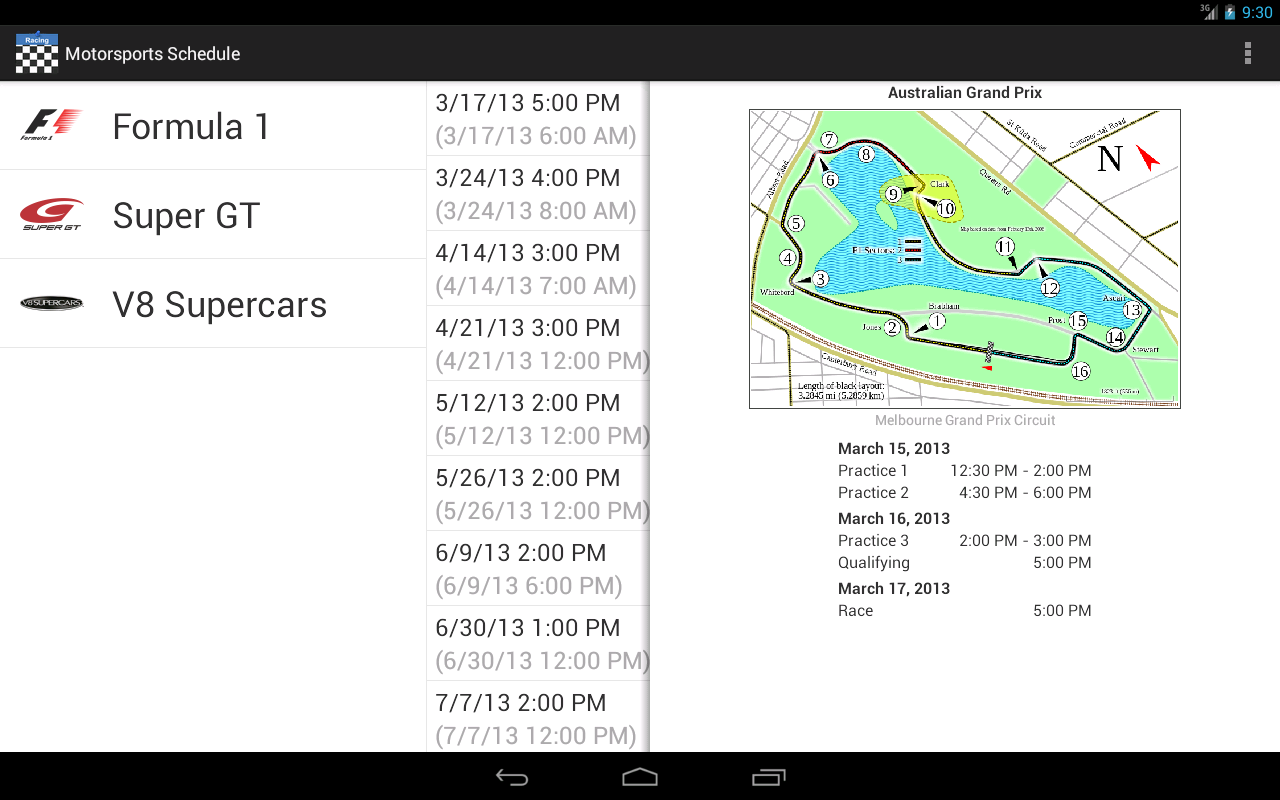 Motorsports Schedule 2013- screenshot