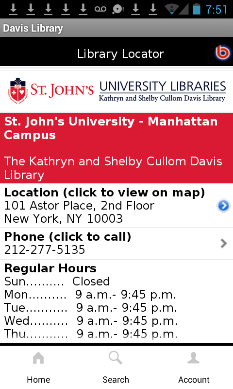 SJU Davis Library Mobile- screenshot