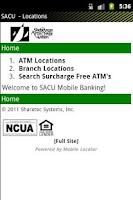 Screenshot of SACU Home Banking