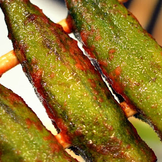 Grilled Okra with Red Curry Lime Dressing