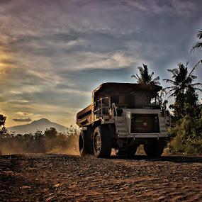 Monster Truck by Hindra Komara - City,  Street & Park  Street Scenes ( mountains, indonesia, sunset, jatigede, landscape photography, sunrise, transportation, street scenes, golden hour, street photography,  )