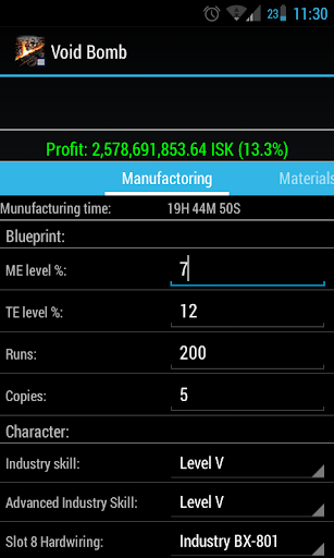EVE Industry Calculator
