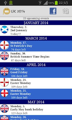 UK Holidays Calendar 2014