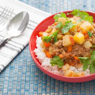 Filipino-Style Beef Picadillo with Chayote Squash & Jasmine Rice.