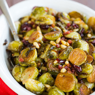 Brussels Sprouts with Pancetta, Cranberries & Pine Nuts.