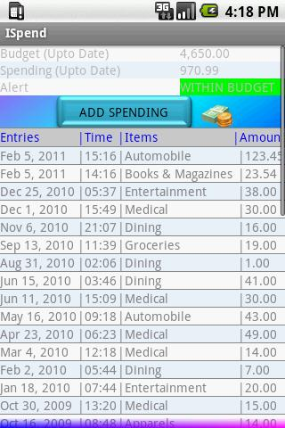 ISpend (Spending Monitor)- screenshot