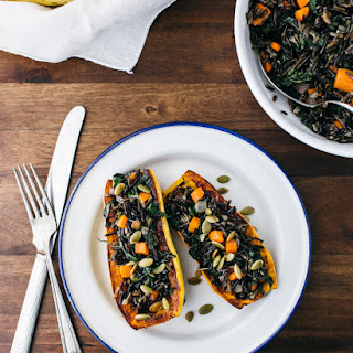 Stuffed Delicata Squash with Wild Rice, Brown Butter and Sage