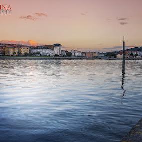 Ria del Burgo by Jose Rabina - Landscapes Sunsets & Sunrises ( water, sunset, nightime, city, river )