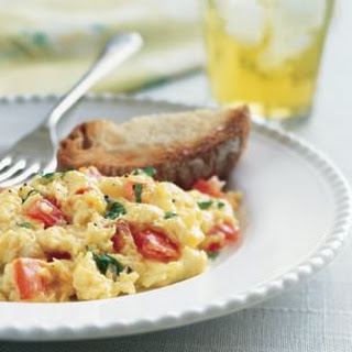 Scrambled Eggs with Tomato, Cheddar and Basil
