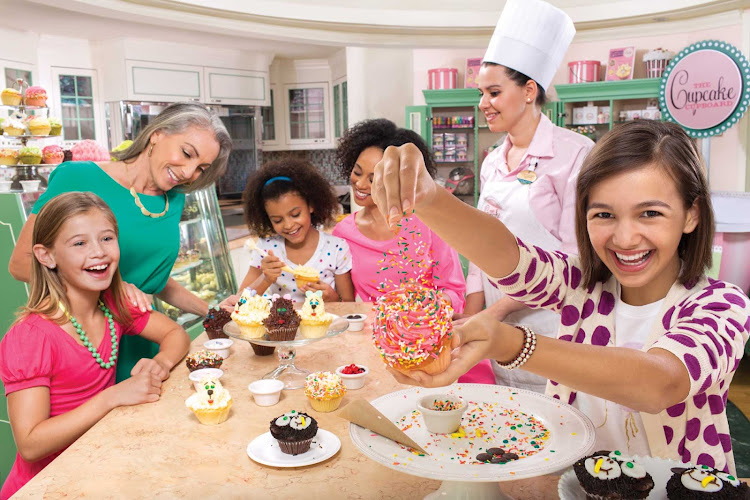 Sprinkles galore: Kids can make their own cupcakes at the Cupcake Cupboard on your Royal Caribbean sailing.