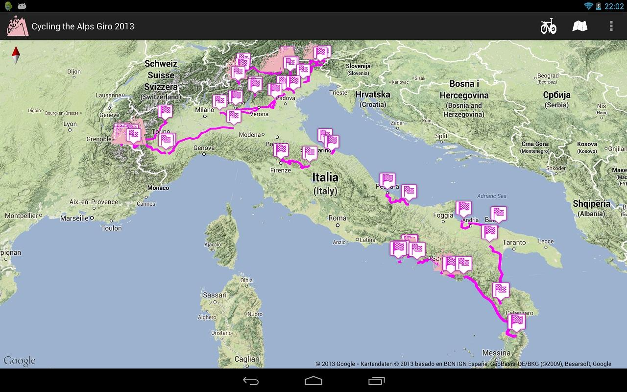 Giro d'Italia routes 2013- screenshot