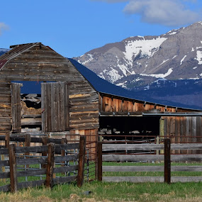 Rustic barn by Don Evjen - Landscapes Mountains & Hills ( mountains, sky, correls, barn, montana,  )