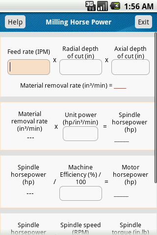 Milling Horsepower Calculator