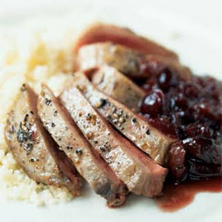 Duck with Port and Cranberry-Cherry Sauce.