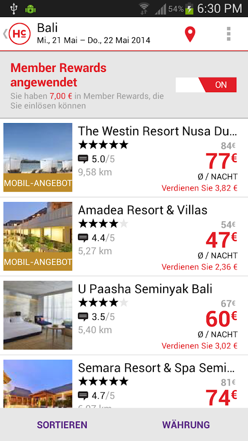 HotelClub:Hotels bis zu 70% - screenshot