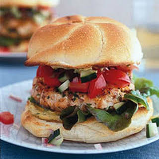 Salmon Burgers with Dill Mustard.