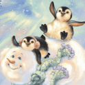 Cute Penguins on the Snowman L logo