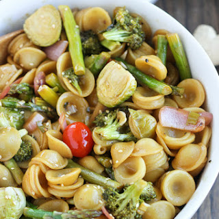 Asian Ginger Sesame Roasted Vegetable Pasta.