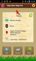 Screenshot of Hay Fever Diary Pro