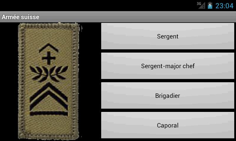 Schweizer Armee Dienstgrade- screenshot