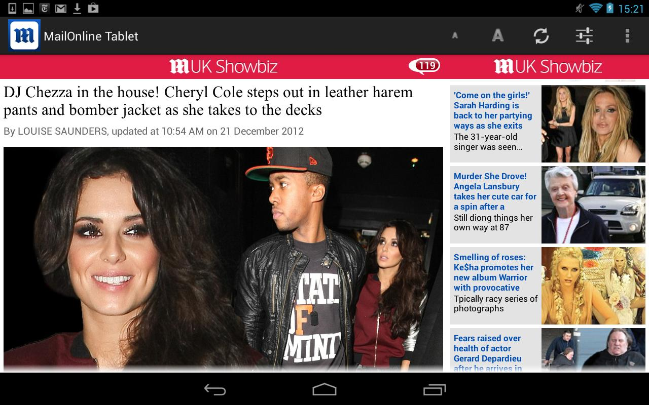 Daily Mail Online Tablet - screenshot