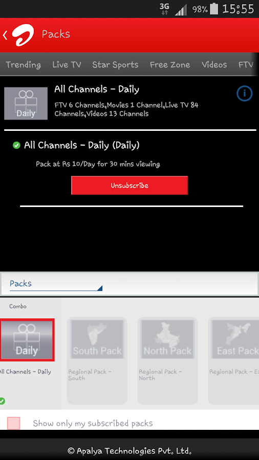 Airtel Live Mobile TV online- screenshot