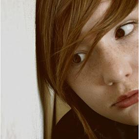by Kajsa Karlsson - Uncategorized All Uncategorized ( brown eyes, red, girl, sad, woman, brown, self portrait, rusty, freckles,  )