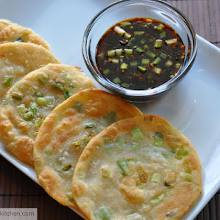 Chinese Scallion Pancakes /Cong You Bing with Ginger-Soy- Dipping Sauce.